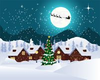 Christmas night landscape full moon with flying santa claus, christmas. Christmas night landscape full moon. christmas card royalty free illustration