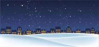 Christmas night landscape with houses. Winter background. For design flyer, banner, poster, invitation stock illustration