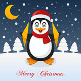Christmas Night with Moon and a Penguin. A merry Christmas greeting card with the trees, the moon and a happy penguin smiling in a snowy scene. Eps file Stock Photos