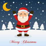 Christmas Night with Moon and Santa Claus Royalty Free Stock Photography