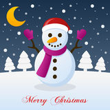 Christmas Night with Moon and a Snowman Royalty Free Stock Photos
