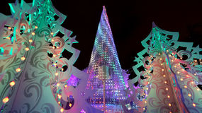 Christmas night Moscow ---  Music Forest on Pushkin Square Festival `Journey to Christmas`,Russia Stock Image