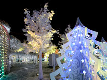 Christmas night Moscow ---  Music Forest on Pushkin Square Festival `Journey to Christmas`,Russia Royalty Free Stock Images