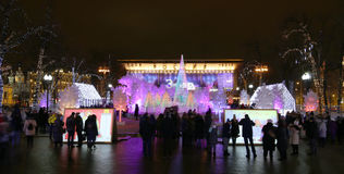 Christmas night Moscow ---  Music Forest on Pushkin Square Festival `Journey to Christmas`,Russia Stock Photography