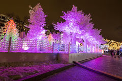 Christmas night Moscow ---  Music Forest on Pushkin Square Festival `Journey to Christmas`,Russia Stock Photos
