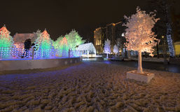 Christmas night Moscow ---  Music Forest on Pushkin Square Festival `Journey to Christmas`,Russia Royalty Free Stock Photos