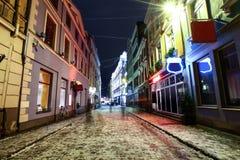 Christmas night in Old Riga, Latvia stock image