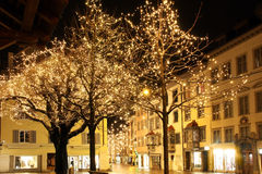 Christmas night. In an old town Royalty Free Stock Photography