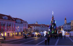 Christmas night in old town Stock Photography