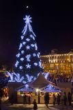 Christmas night in old town Royalty Free Stock Photo