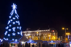 Christmas night in old town Royalty Free Stock Image