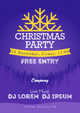 Christmas night party poster or flyer  illustration. Merry christmas design template  background Stock Image