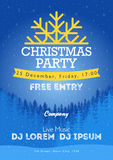 Christmas night party poster or flyer  illustration. Merry christmas design template  background Stock Photos