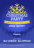 Christmas night party poster or flyer  illustration. Merry christmas design template  background Royalty Free Stock Photography