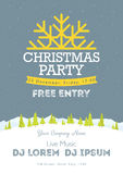 Christmas night party poster or flyer  illustration. Merry christmas design template  background Royalty Free Stock Photo