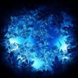 Christmas night pattern. Frosty christmas pattern at a winter window glass, night Royalty Free Stock Photography