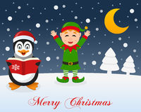 Christmas Night, Penguin & Cute Green Elf. A merry Christmas greeting card with the trees, the moon, a happy penguin singing and a cute green elf smiling in a Stock Photography
