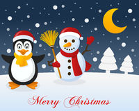Christmas Night, Penguin & Cute Snowman. A merry Christmas greeting card with the trees, the moon, a happy penguin smiling and a cute snowman holding a broom in Royalty Free Stock Photos