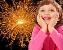 Christmas night - portrait of little girl Royalty Free Stock Photo