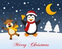 Christmas Night, Reindeer & Cute Penguin Royalty Free Stock Image