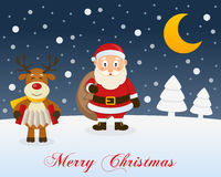 Christmas Night, Reindeer & Santa Claus Stock Image