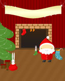 Christmas Night: Santa And Rabbits. Stock Photo
