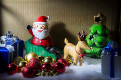 Christmas night Santa Claus caming in the box. Christmas night Santa Claus caming in the box Stock Photo