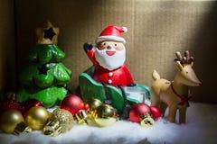 Christmas night Santa Claus caming in the box. Christmas night Santa Claus caming in the box Royalty Free Stock Image