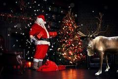 Christmas night, Santa Claus Stock Image