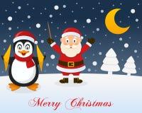 Christmas Night, Santa Claus & Penguin Stock Photo