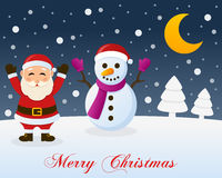 Christmas Night, Santa Claus & Snowman. A merry Christmas greeting card with the trees, the moon, a happy Santa Claus smiling and a cute snowman in a snowy scene Royalty Free Stock Photography
