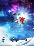Christmas Night and Santa. Flying Santa Claus with reindeers night winter snowy background Stock Photography
