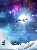 Christmas Night and Santa. Flying Santa Claus with reindeers night winter snowy background Stock Photo