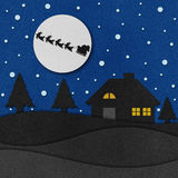 Christmas night with santa recycled papercraft. Royalty Free Stock Photo