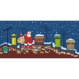 Christmas Night and Santa. Santa on the Roof at Christmas Night Stock Images