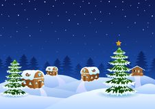 Christmas night scene with a snowy wooden house and fir trees Stock Photography