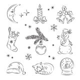 Christmas Night Set Royalty Free Stock Photography