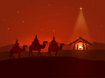 Christmas night with shining star. Christian Christmas night, shining star, three wise men and the birth of Jesus, illustration Royalty Free Stock Image