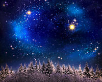 Christmas night sky background. vector illustration