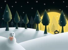 Christmas night with snowman. And big moon royalty free illustration
