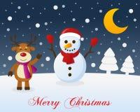 Christmas Night, Snowman & Cute Reindeer Royalty Free Stock Image
