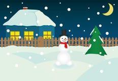 Christmas Night Snowman. Vector illustration Stock Image