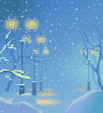 Christmas night snowy street Stock Images