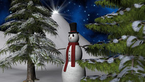 Christmas Night Star with a Snowman and fir trees Stock Image