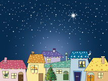 Christmas night. With stars and city Royalty Free Stock Image