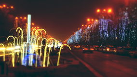 Christmas night street traffic Stock Photography