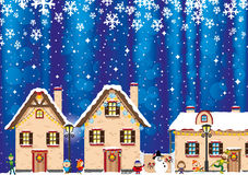 Christmas night in town. Cheerful festive illustration Christmas night in town Stock Photos