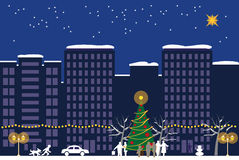 Christmas night town Stock Images