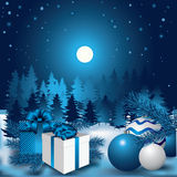 Christmas night. Trees, snowflakes, twigs of evergreen and gifts. Vector illustration Royalty Free Stock Photo