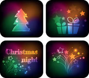 Christmas night variations. Four images associated with the Christmas night on a dark background Stock Image